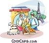 Vector Clipart image  of a Pastry chef and the Eiffel