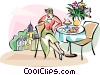Vector Clipart graphic  of a woman having breakfast in