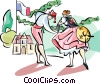 Vector Clip Art image  of a dancers at the French Harvest