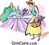 Vector Clipart graphic  of a woman picking vegetables
