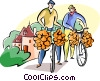 Frenchmen with onions on their bike Vector Clip Art picture