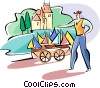 Vector Clip Art graphic  of a merchant selling toy boats