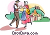 Vector Clipart picture  of a French traditional dancing