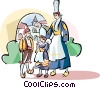 Family in traditional French dress Vector Clip Art image