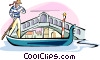man in a gondola passing the Rialto Bridge Vector Clip Art image