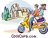 couple driving by the coliseum on a scooter Vector Clip Art graphic