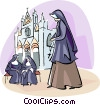 Nuns at the Orvieto Duomo Vector Clip Art graphic