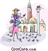 Vector Clipart image  of a feeding the birds in St. Marks Square