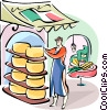 Vector Clip Art graphic  of a Italian cheese maker