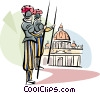 Vector Clip Art graphic  of a Vatican guards