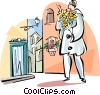 man with flowers Vector Clipart image
