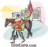 Vector Clipart picture  of a horseback riding in Cien