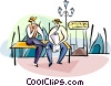 Italian gondoliers taking a break Vector Clipart graphic
