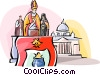 The Pope speaking at the Vatican Vector Clip Art graphic