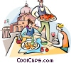 Vector Clip Art graphic  of a traditional Italian lunch