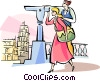 woman looking at the Leaning Tower of Pisa Vector Clipart image