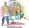 Vector Clip Art image  of a Italian chef making pasta