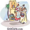 women shopping in the fish market Vector Clip Art picture
