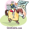 Spanish man on horseback in Seville Vector Clipart picture
