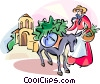 Spanish woman with a donkey Vector Clipart illustration