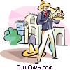merchant selling his sombreros Vector Clipart picture