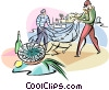 Vector Clip Art graphic  of a Spanish fishermen