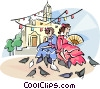 Spanish girls feeding the pigeons Vector Clipart image