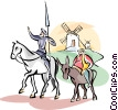 Don Quixote and Sancho Panza Vector Clip Art picture