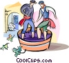 Vector Clipart picture  of a Spanish men making wine