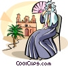 Spanish woman with a fan Vector Clipart graphic