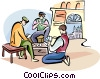Vector Clipart graphic  of a Spanish men playing cards