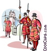 Beefeaters on guard Vector Clip Art graphic