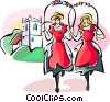 Vector Clip Art graphic  of a English traditional dance