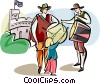 Englishmen in traditional dress Vector Clipart image