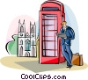 Vector Clip Art graphic  of a Englishman waiting for the bus