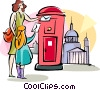 Vector Clip Art picture  of a English woman dropping off her