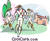 English Morris dancers Vector Clip Art graphic