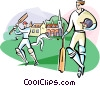 Vector Clipart graphic  of a Cricket players