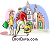 Vector Clip Art graphic  of a couple shopping in London