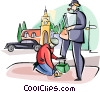 Vector Clip Art image  of a Englishmen getting a shoe