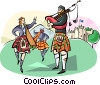 Vector Clipart picture  of a Scottish bagpipers and dancers