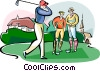 Vector Clip Art graphic  of a golfer teeing off