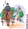 horse and buggy Vector Clipart illustration