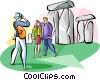 Tourist at Stonehenge Vector Clip Art image