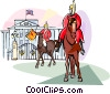 Guards at Buckingham Palace Vector Clip Art graphic