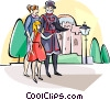 Vector Clipart image  of a Tourists with Beefeater guard