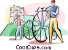 Vector Clipart picture  of a Englishmen with old time bike