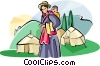 Tibetan people woman with her baby Vector Clipart graphic