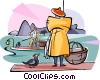 Chinese fishermen Vector Clipart illustration