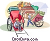Vector Clip Art image  of a rickshaw drivers waiting for a